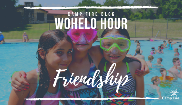 WoHeLo Hour Friendship text, three girls smiling beside swimming pool