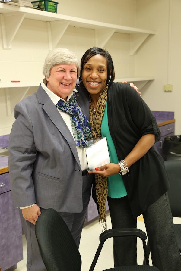 Ann Sheets, Delana Legans receiving Blue Ribbon Award 2015