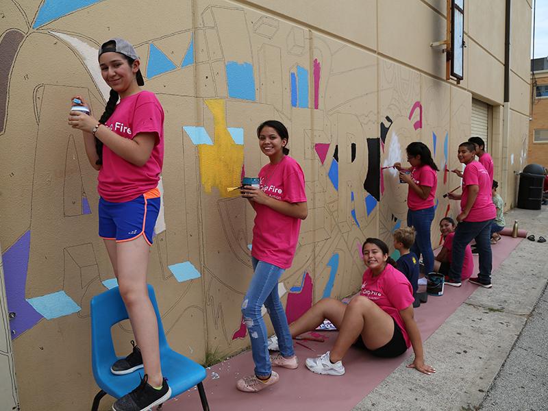 Teens in action mural
