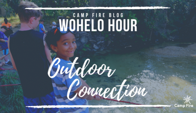 WoHeLo Hour Outdoor Connection text, group of campers fishing with cane poles