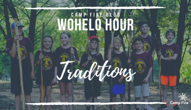 WoHeLo Hour Traditions text, campers with walking staffs
