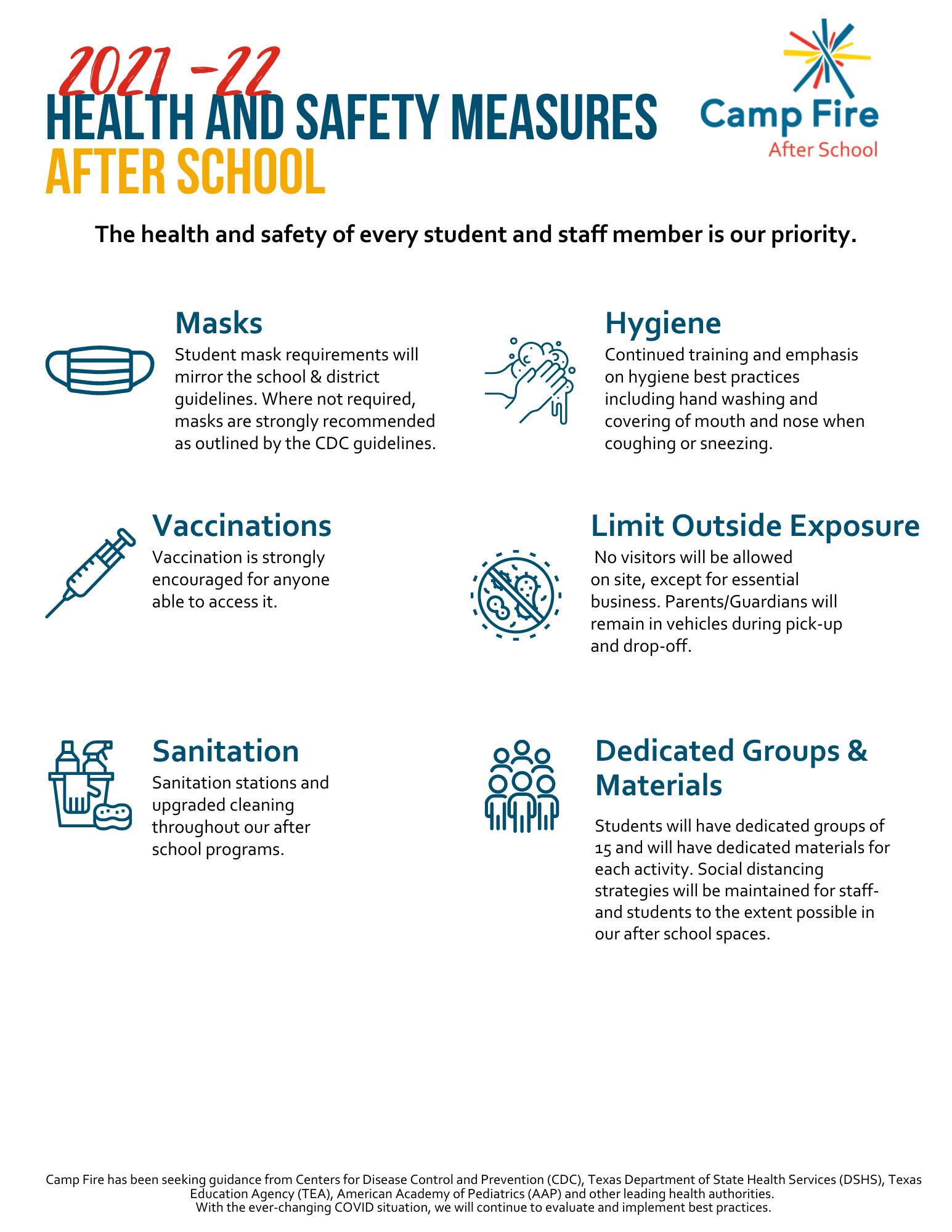 After school 2021-22 health measures infographic