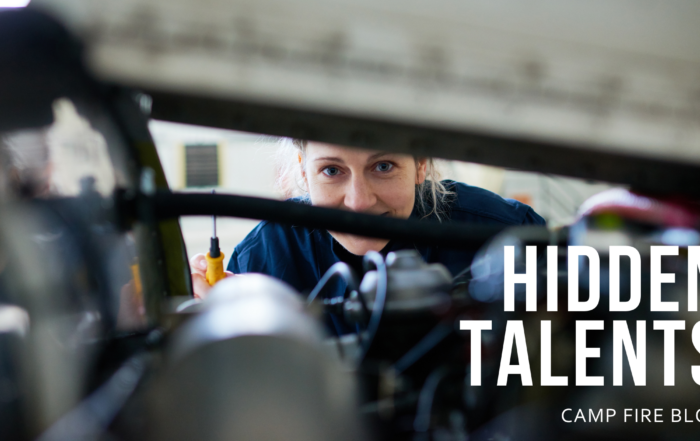 image of female mechanic, text hidden talents, camp fire blog
