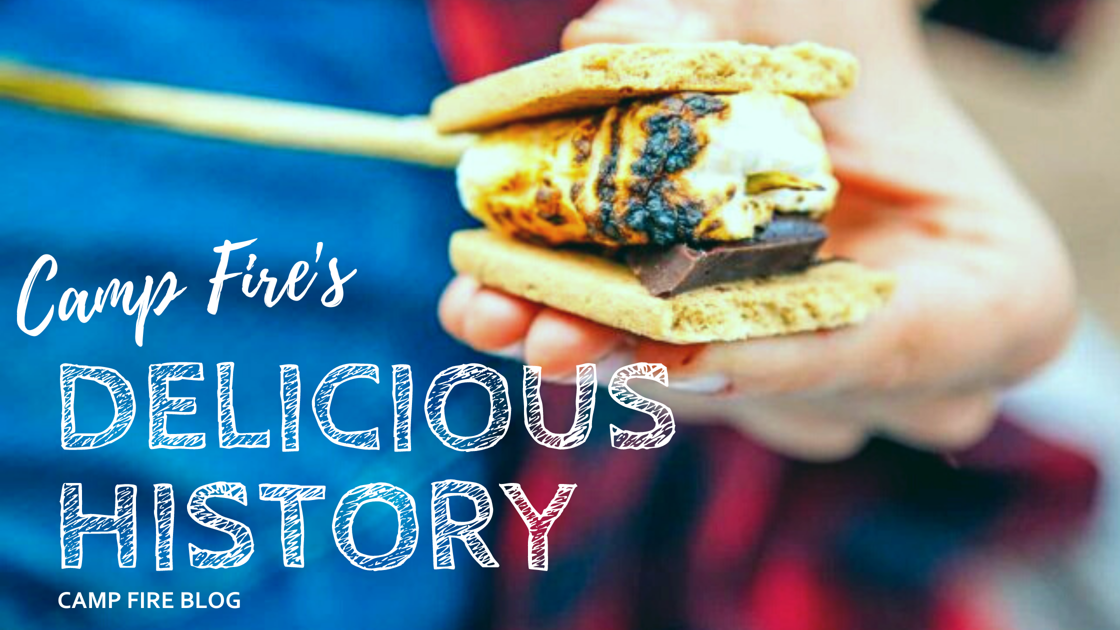 Camp Fire's Delicious History image of roasted marshmallow on stick between graham crackers